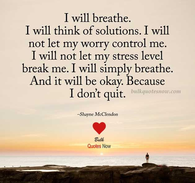 I will breathe. I will think of solutions...