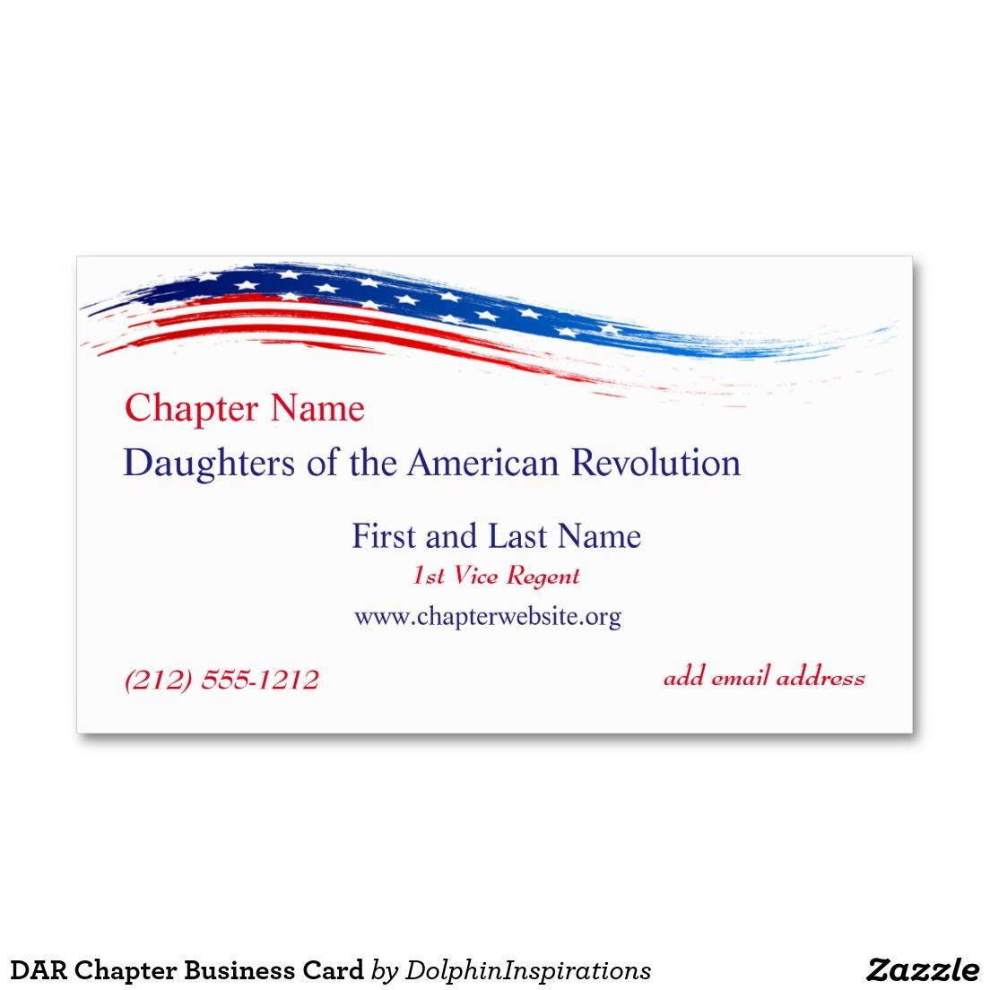 DAR Chapter Business Card | Business cards and American revolution
