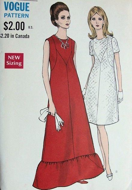 1960s MOD EVENING GOWN DRESS PATTERN VOGUE 7443 | 1960s | Pinterest