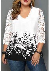 Plus Size Lace Panel Floral Print T Shirt   Rotita.com - USD $30.10 2