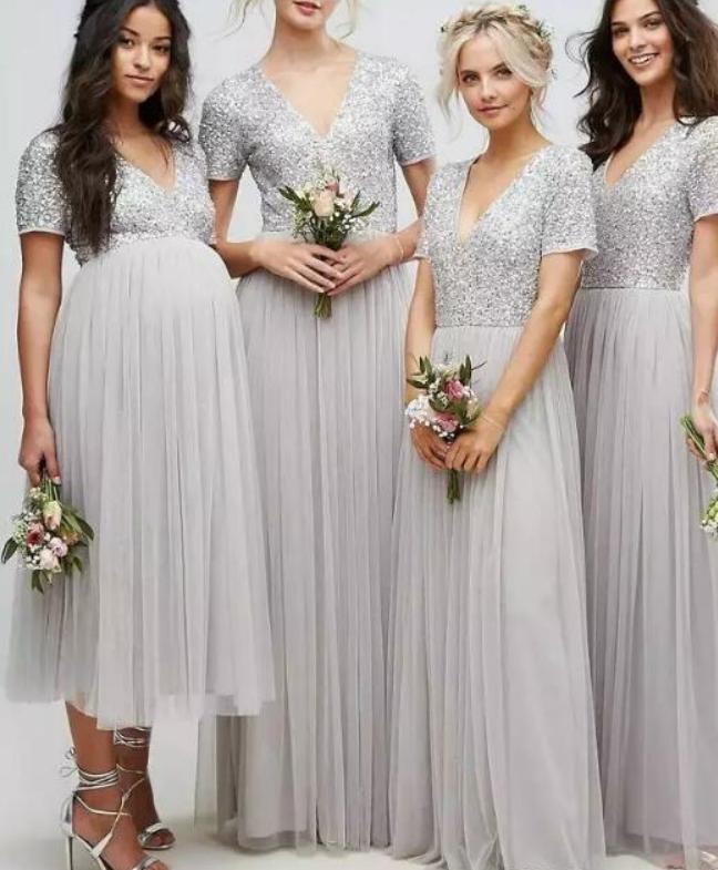 Sparkly Sequins Bridesmaid Dresses V Neck Short Sleeves Silver Bridesmaid Dresses Short Bridesmaid Dresses Sequin Bridesmaid Dresses