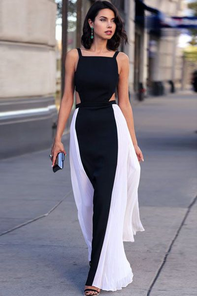 8e36f0d8561 Summer Style Beach Party Maxi Dress Pleated Sexy Open Back Strap Waist Cut  Out Bodycon Gown Long Evening Party Dress Black White-in Dresses from  Women s ...