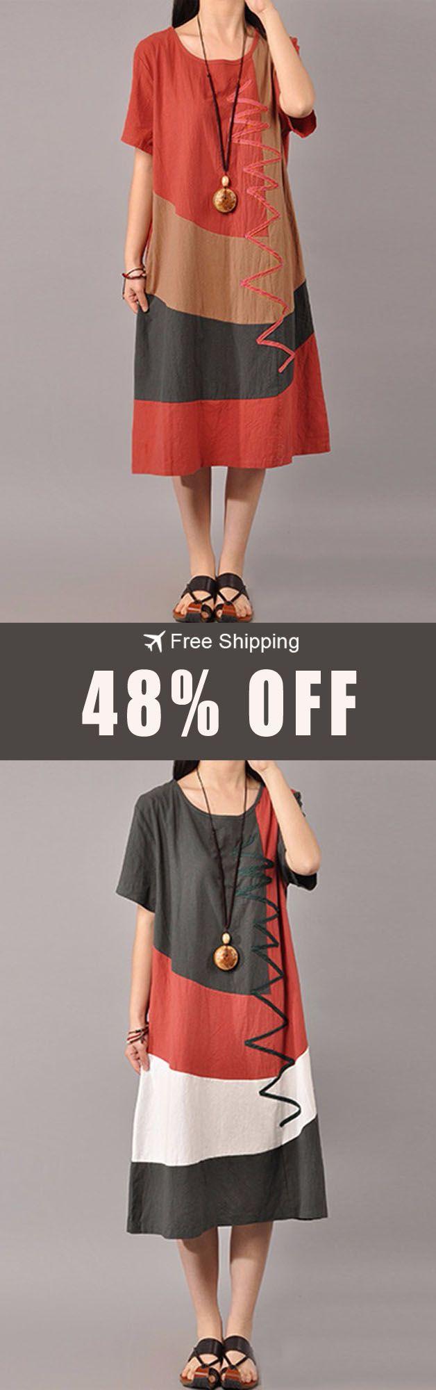 Offufree shipping sxl women casual short sleeve splice loose o