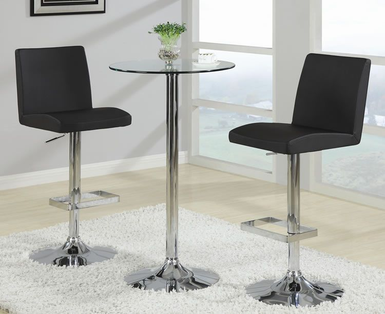 Make Your Own Home Bar Round Gl Pub Table And Modern Black Stools