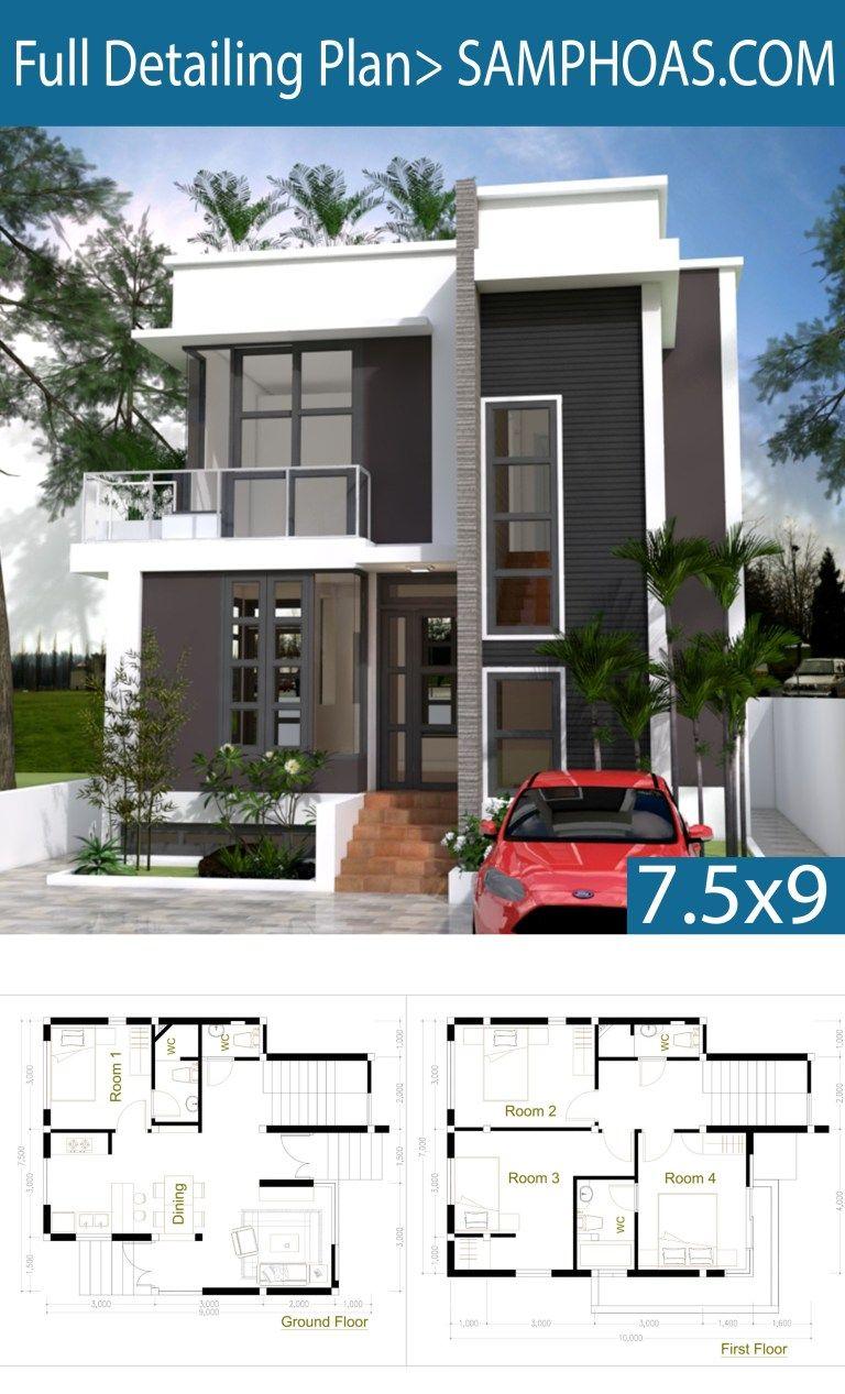 4 Bedroom Home Design Plan 7 5x9m Samphoas Plan House Front Design Home Building Design Model House Plan