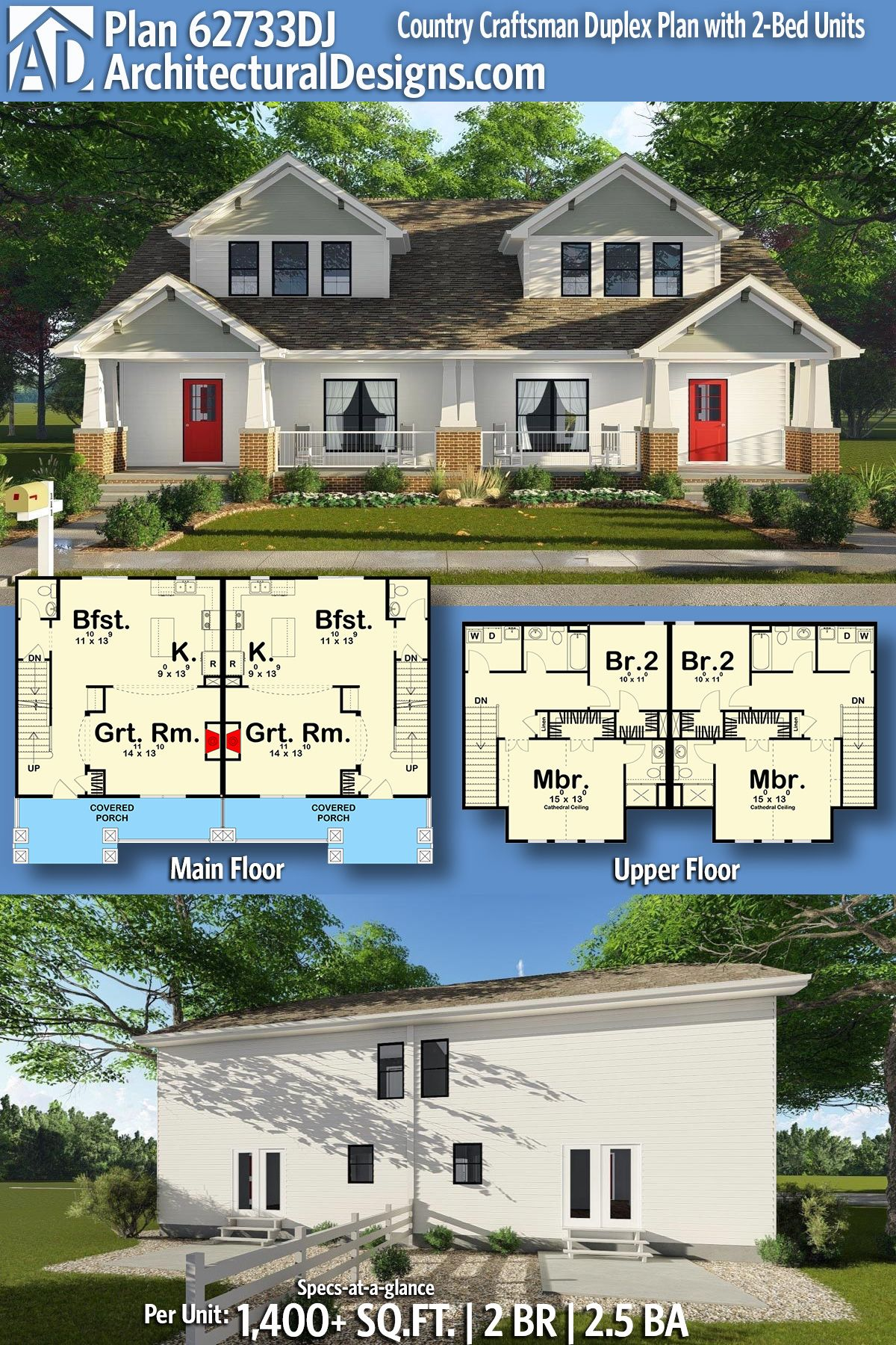 Multi Unit House Plans Plan 62733dj Country Craftsman Duplex Plan With 2 Bed Units In