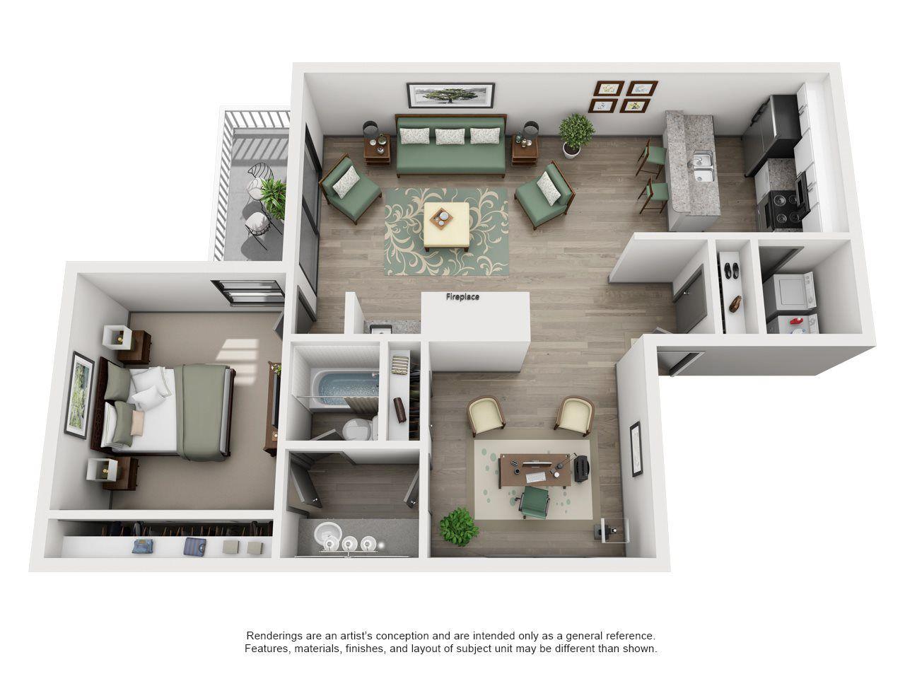 Bermuda Adair II Off Addison 1X1 Floor Plan 3