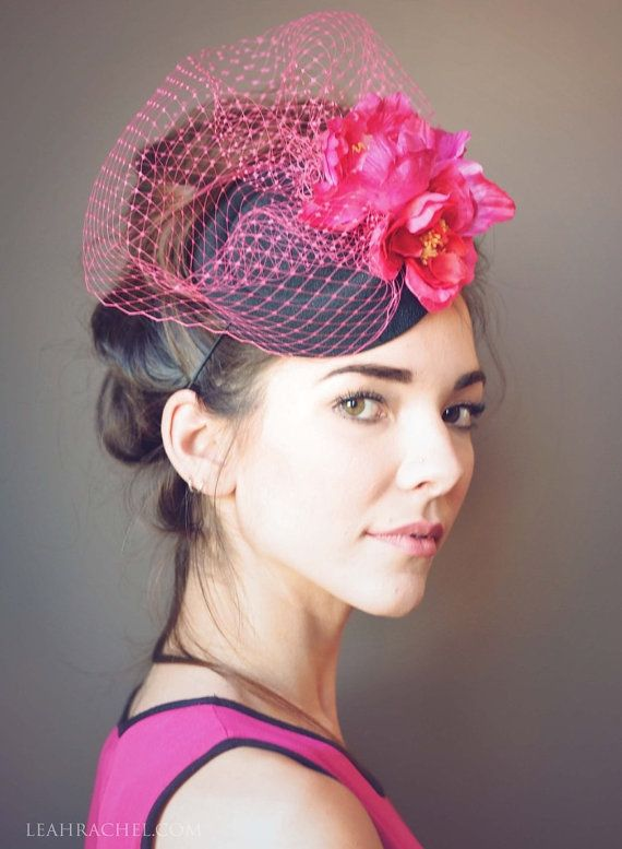 Pink And Black Fascinator Hat Kentucky Derby Race Tocado Hot