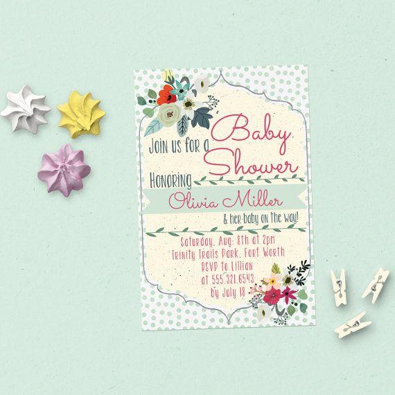 Gender Neutral Baby Shower Invitation Editable Template