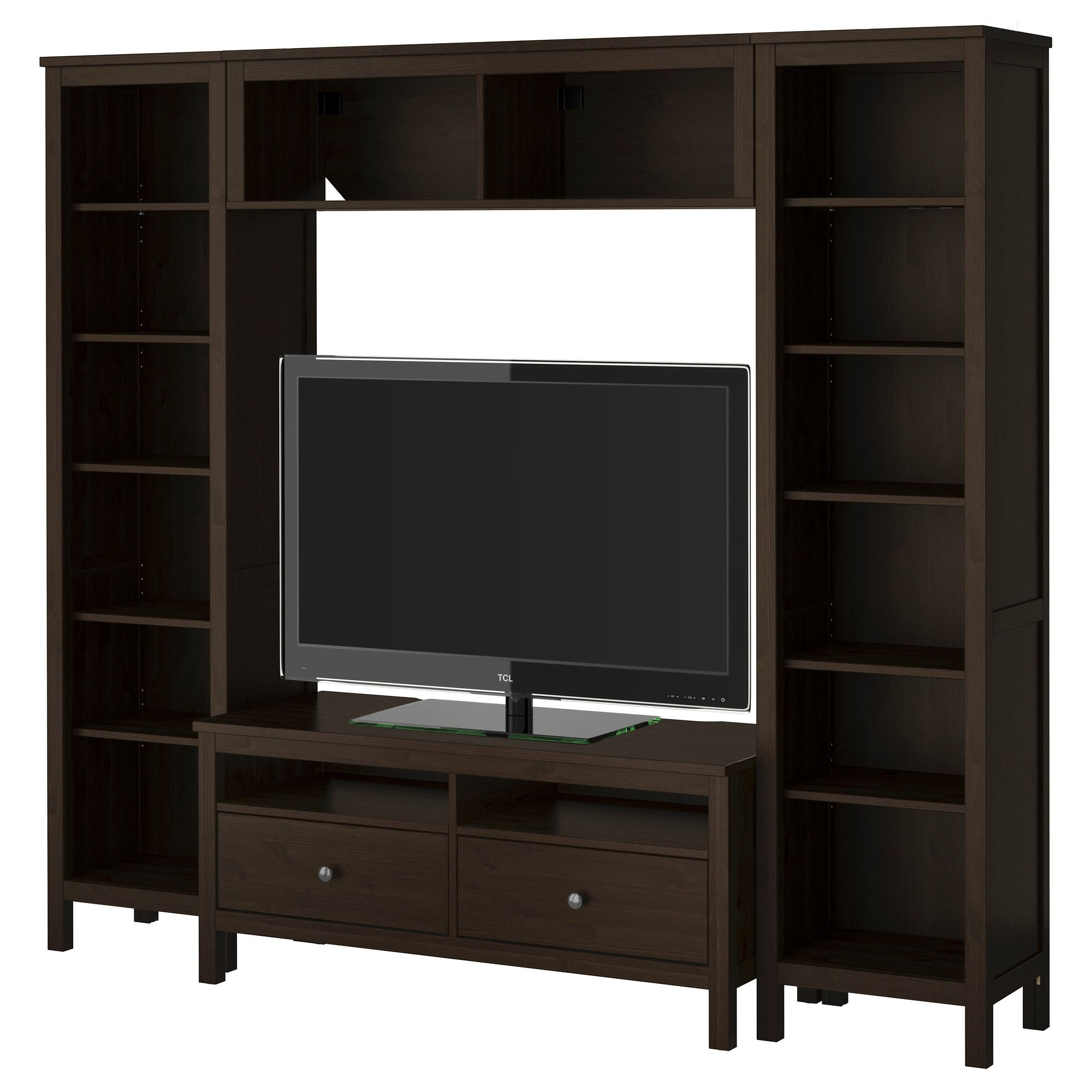 hemnes tv storage combination black brown ikea 49900 would need room measurements for - Meuble Tv Ikea Expedit