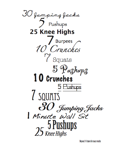 Home At Home Exercises At Home Workouts Workout Chart