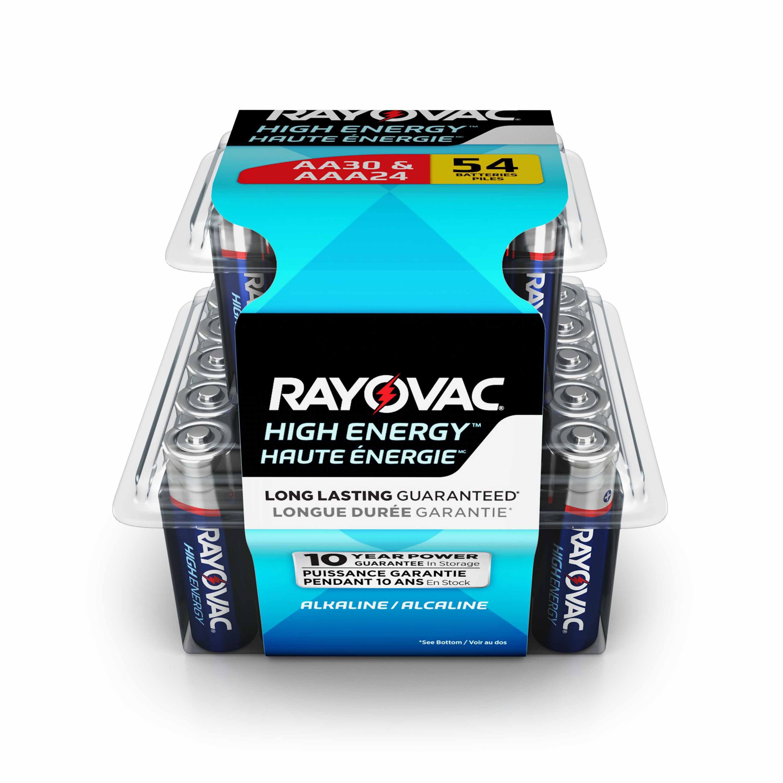Rayovac Aa Batteries Aaa Batteries Combo Pack 30 Aa And 24 Aaa 54 Battery Count Walmart Com High Energy Alkaline Battery Energy