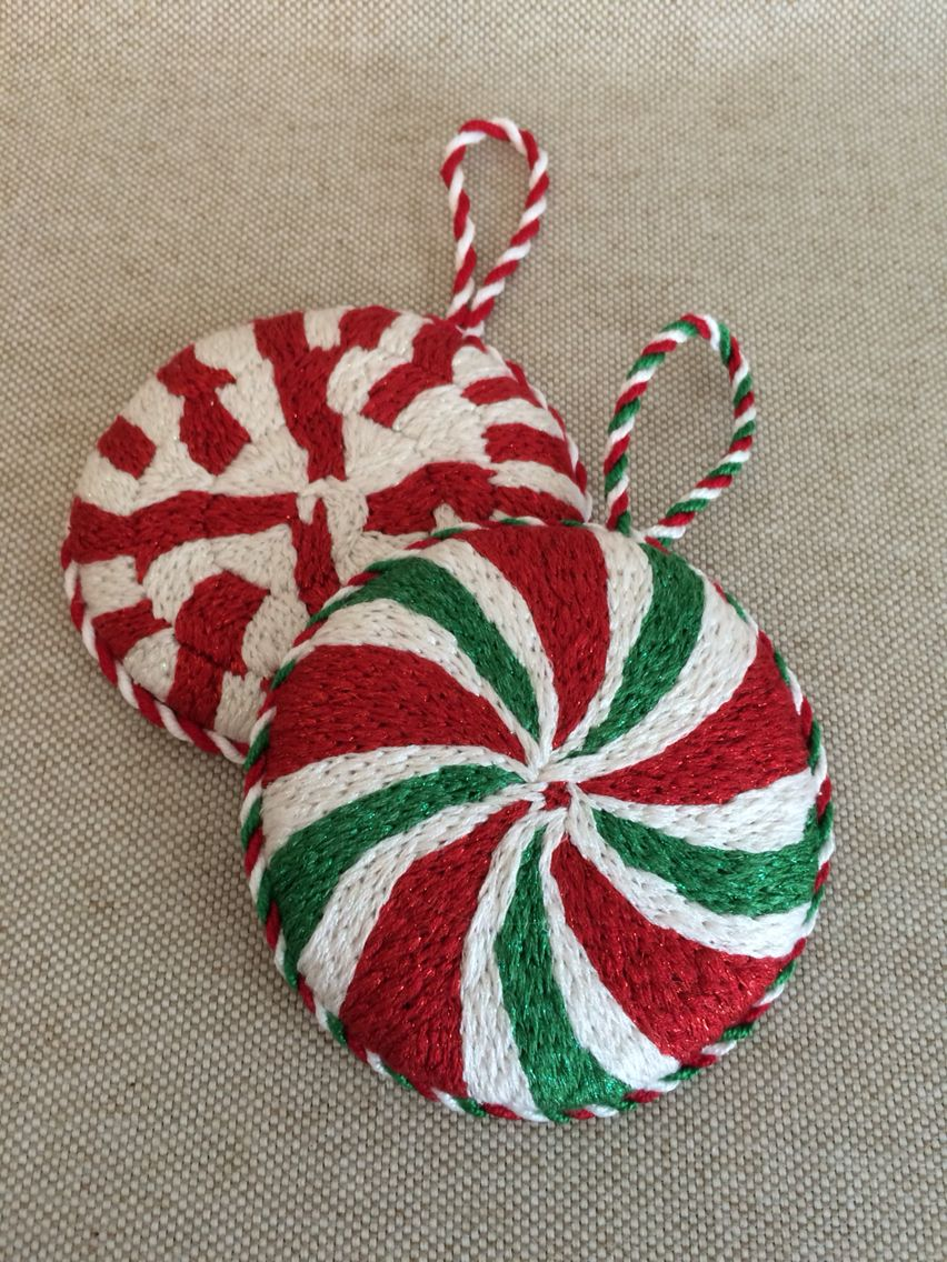 Glass candy cane ornaments - Needlepoint Peppermint Candy Ornaments Designer Unknown