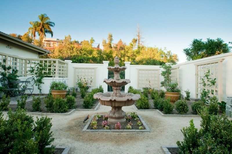 Beautiful Home Gardens With Fountains Plants Chairs Table Trees Fountain Mediterranean Landscape Of To Be Inspired By