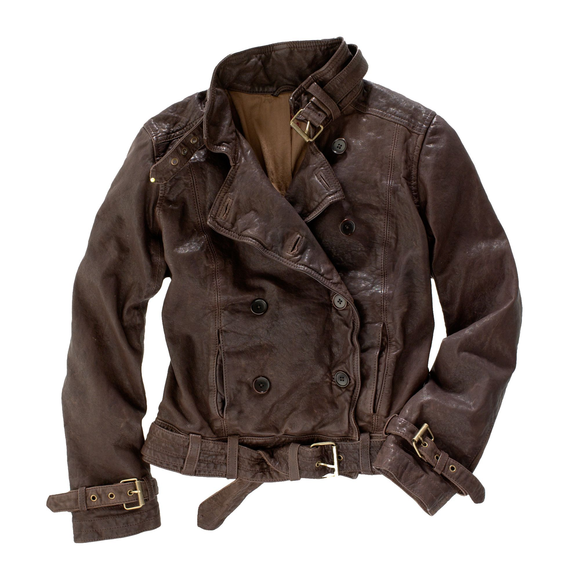 Madewell Belted Leather Bomber in Brown (chocolate raisin