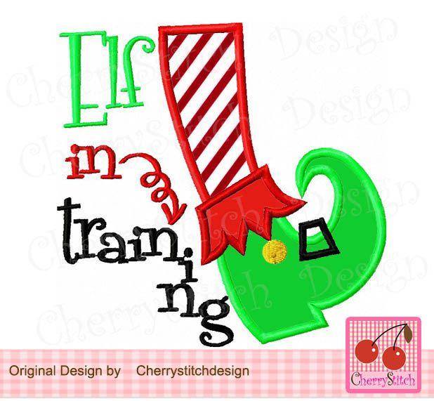 Elf In Training Christmas Elf Foot Elf Leg Elf Digital Embroidery