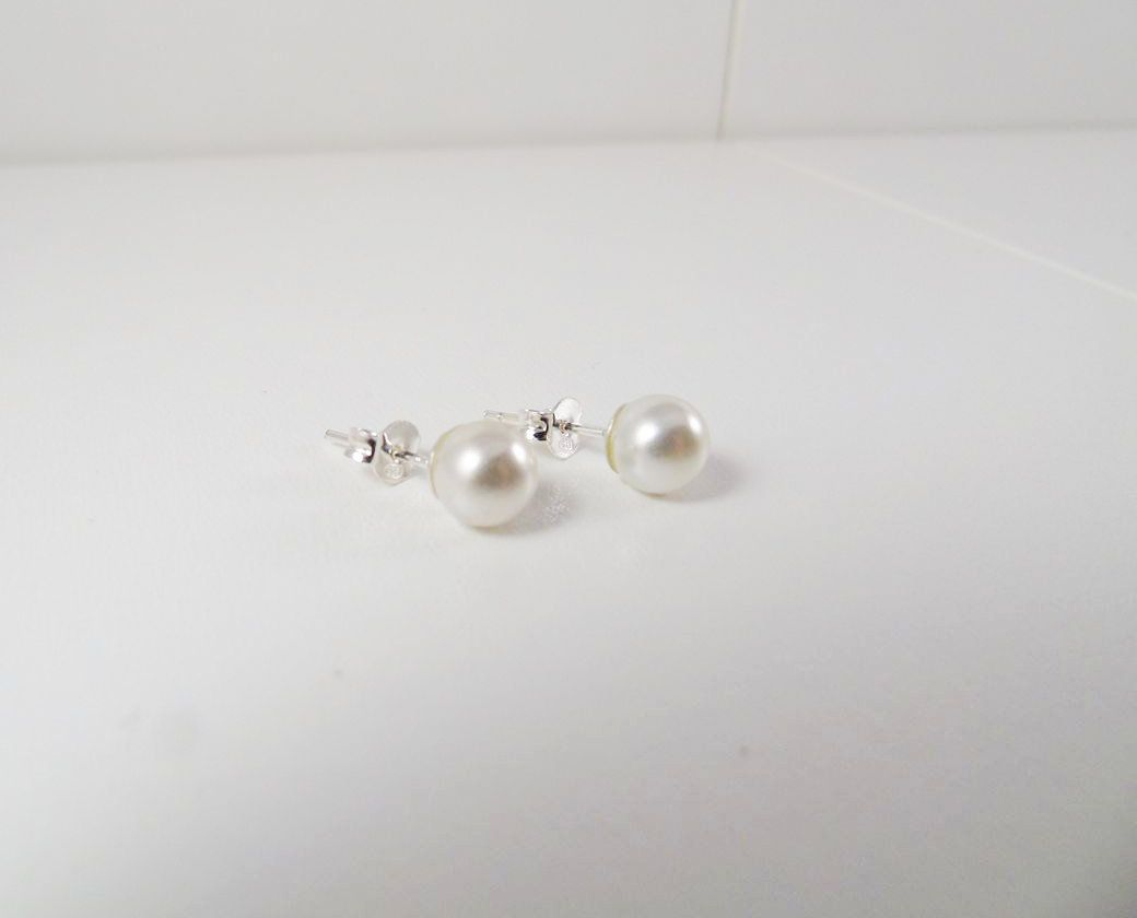 silver collections and matte delicate flower lalanajewelry pearl earring stud earrings products l