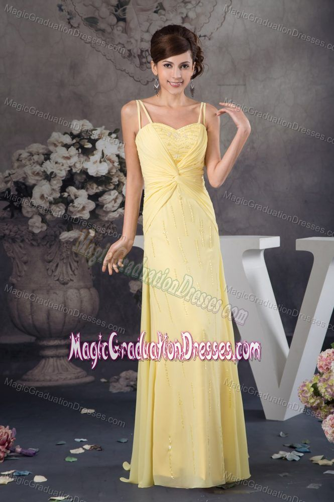 Spaghetti Straps Light Yellow Graduation Dresses for 8th Grade in Coldstream