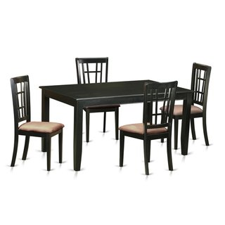 Duni5 Blk 5 Pc Dinette Set Kitchen Table And 4 Kitchen Chairs