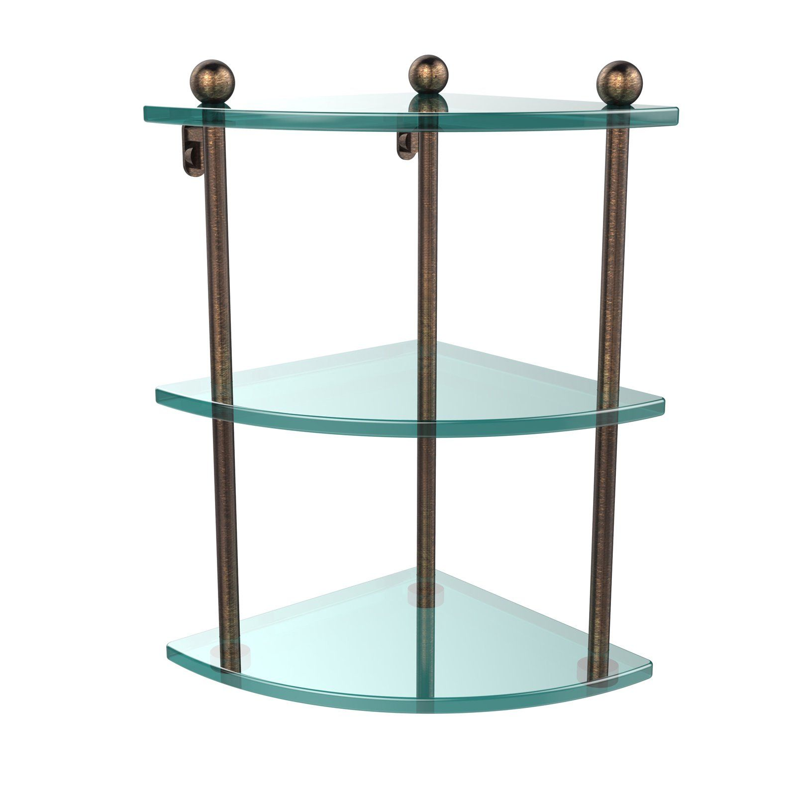 Allied Brass Three Tier Corner Glass Shelf Glass Corner Shelves Glass Bathroom Shelves Glass Shelves