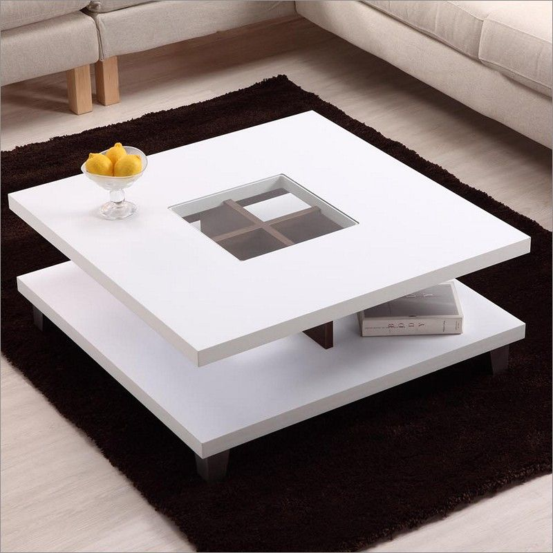 Modern white coffee table with storage