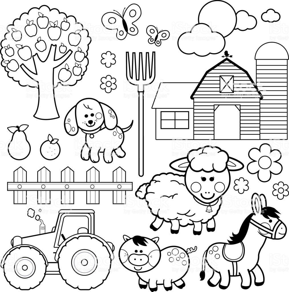 Set Of Farm Animals Farm Animals Donkey Pig Sheep Dog Tree