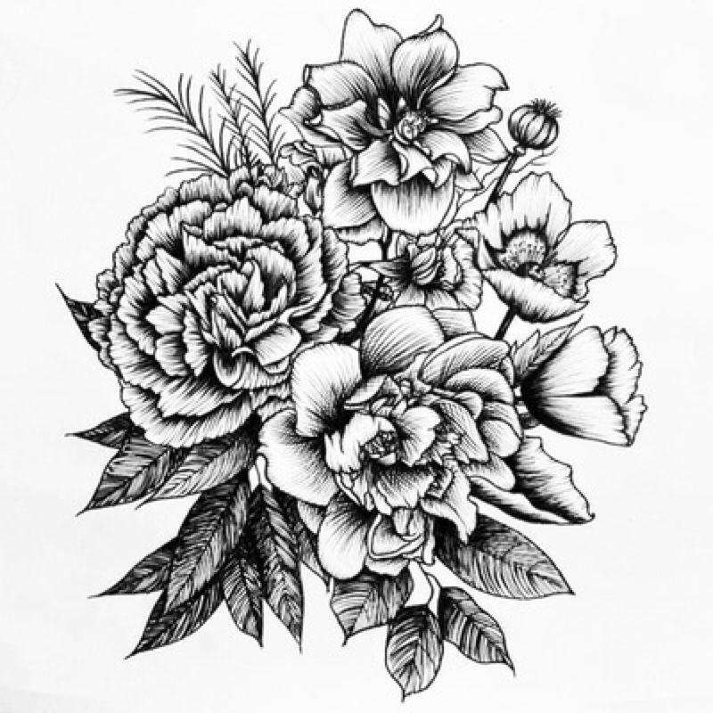 Картинки тату цветы черные