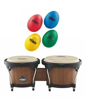 Get into the rhythm with this fun percussion set! With lightweight wood bongos and fun egg shakers, these high-quality pieces deliver a classic, worldly sound in a size that's suitable for children. The bongos include a tuning key, making it a versatile instrument that produces a variety of tones.