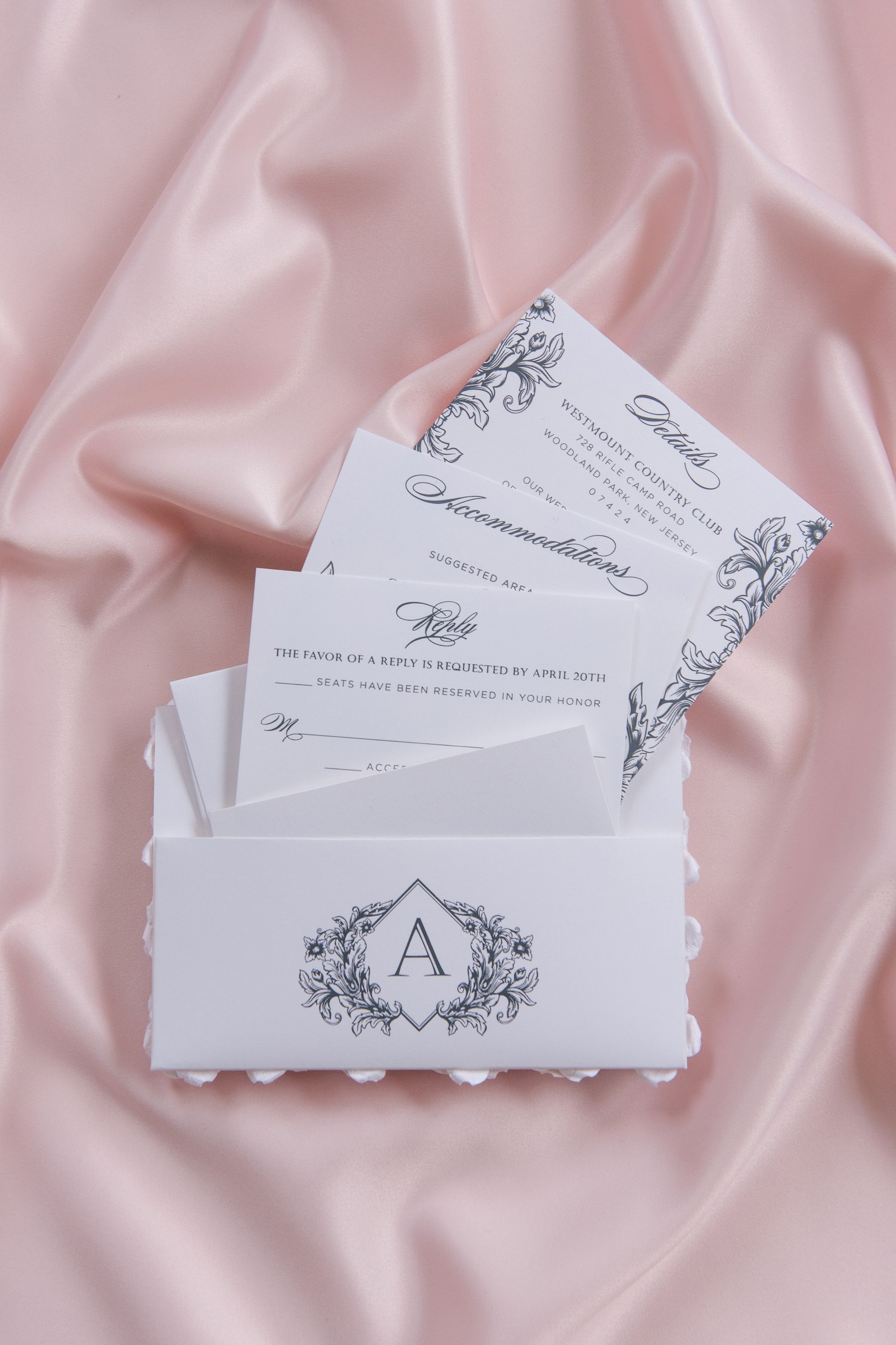 Custom monogrammed pocket for the back of your wedding invitation to ...