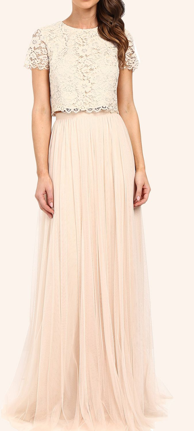 Two piece lace tulle long bridesmaid dress champagne formal gown