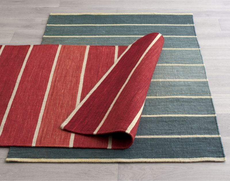Bold Red Striped Wool Blend Dhurrie 3x5 Rug Crate And Barrel