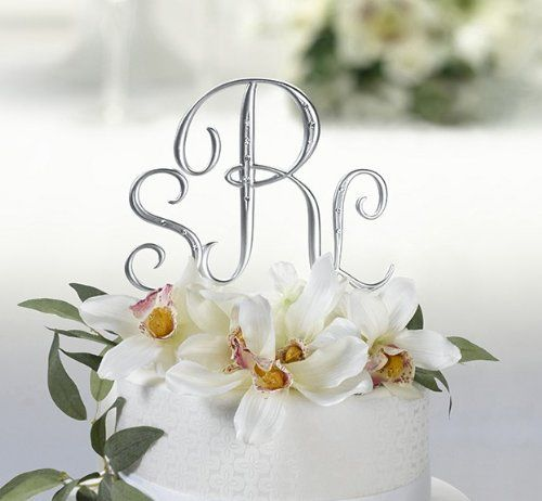 Cake Silver Monogram Wedding Toppers