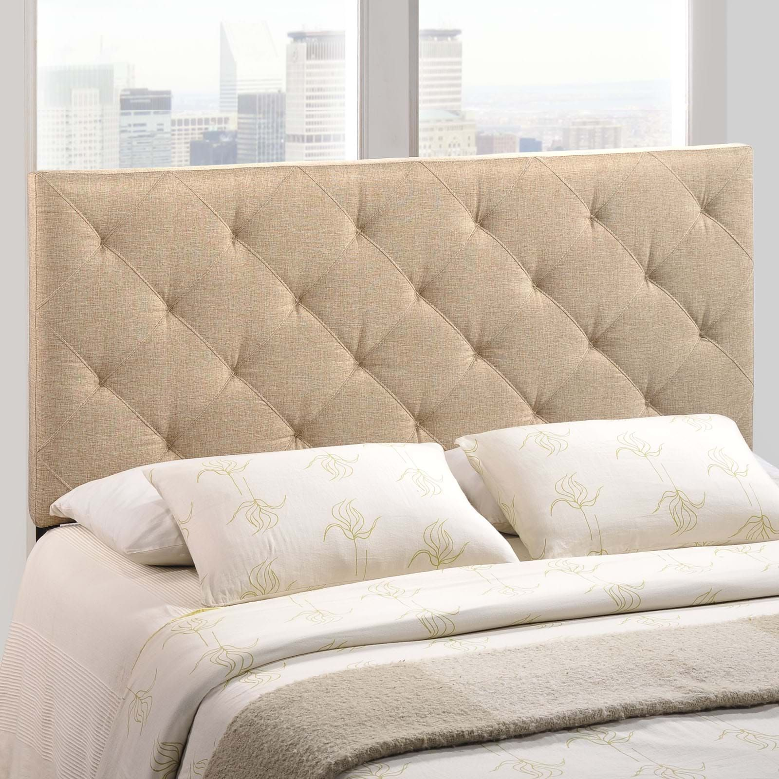 Theodore Queen Fabric Headboard, Beige  The Versatility Of This