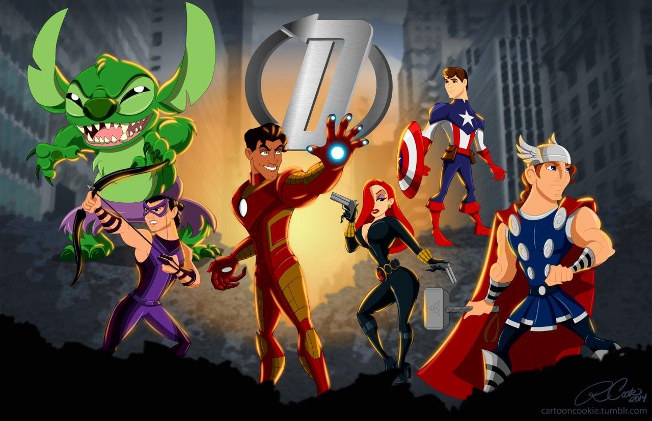 Disney characters as avengers disney cartoon characters