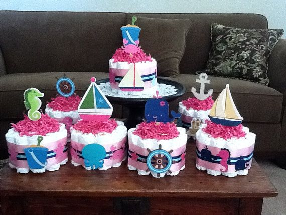Sailor Centerpieces For Baby Girl Shower | Beach Nautical Girl Sailing Baby  Shower Centerpiece Diaper Cakes