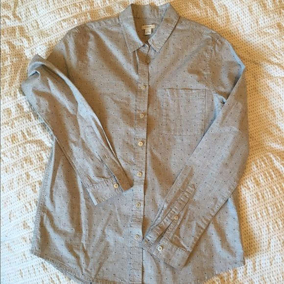 Fossil Button Up Shirt Size XS - Fossil Long sleeve button up shirt.  Polka dots are raised thread. Fossil Tops Button Down Shirts