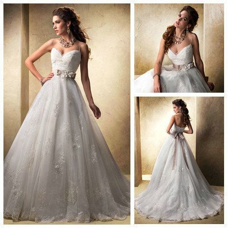 Free shipping -New Arrival Champage Sash Handmade Flowers Ball Gowns Spaghetti Strap Backless Wedding Dresses 2014 US $197.99