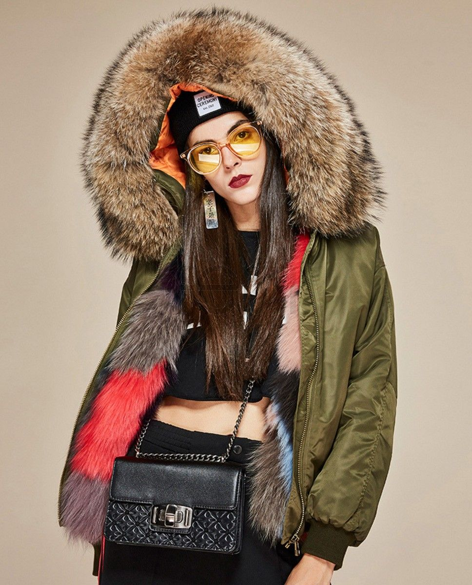 a179f5cdcd Raccoon Fur Trimmed Hooded Jacket with Detachable Fox Fur Liner ...
