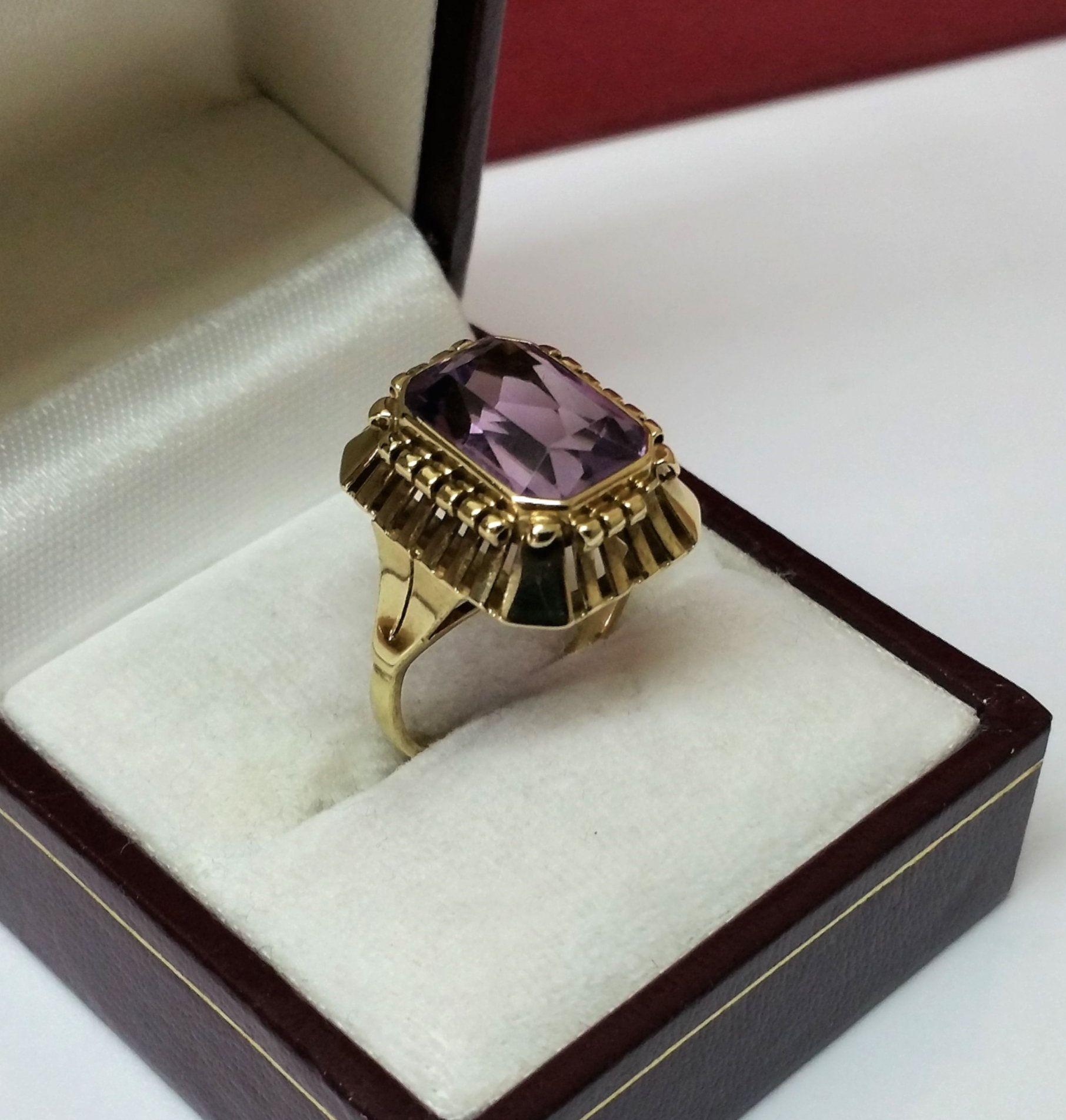 173 mm art deco ring gold 333 amethyst vintage eleganz