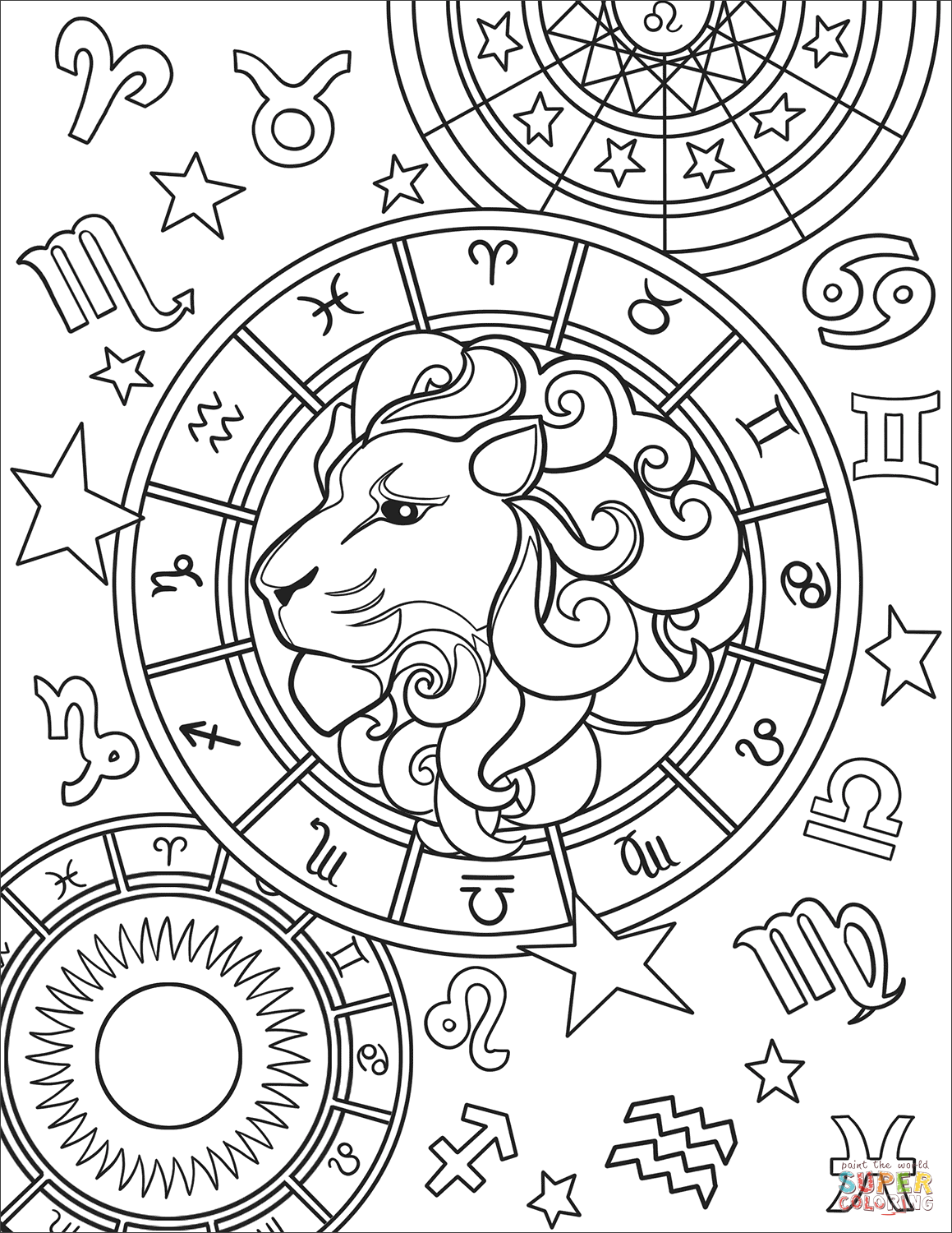 Leo Zodiac Sign Super Coloring Zodiac Signs Colors Free Printable Coloring Pages Printable Coloring Pages
