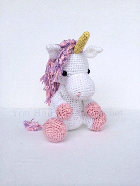 crochet unicorn horse stuffed animal in pink by youhadmeatcrochet