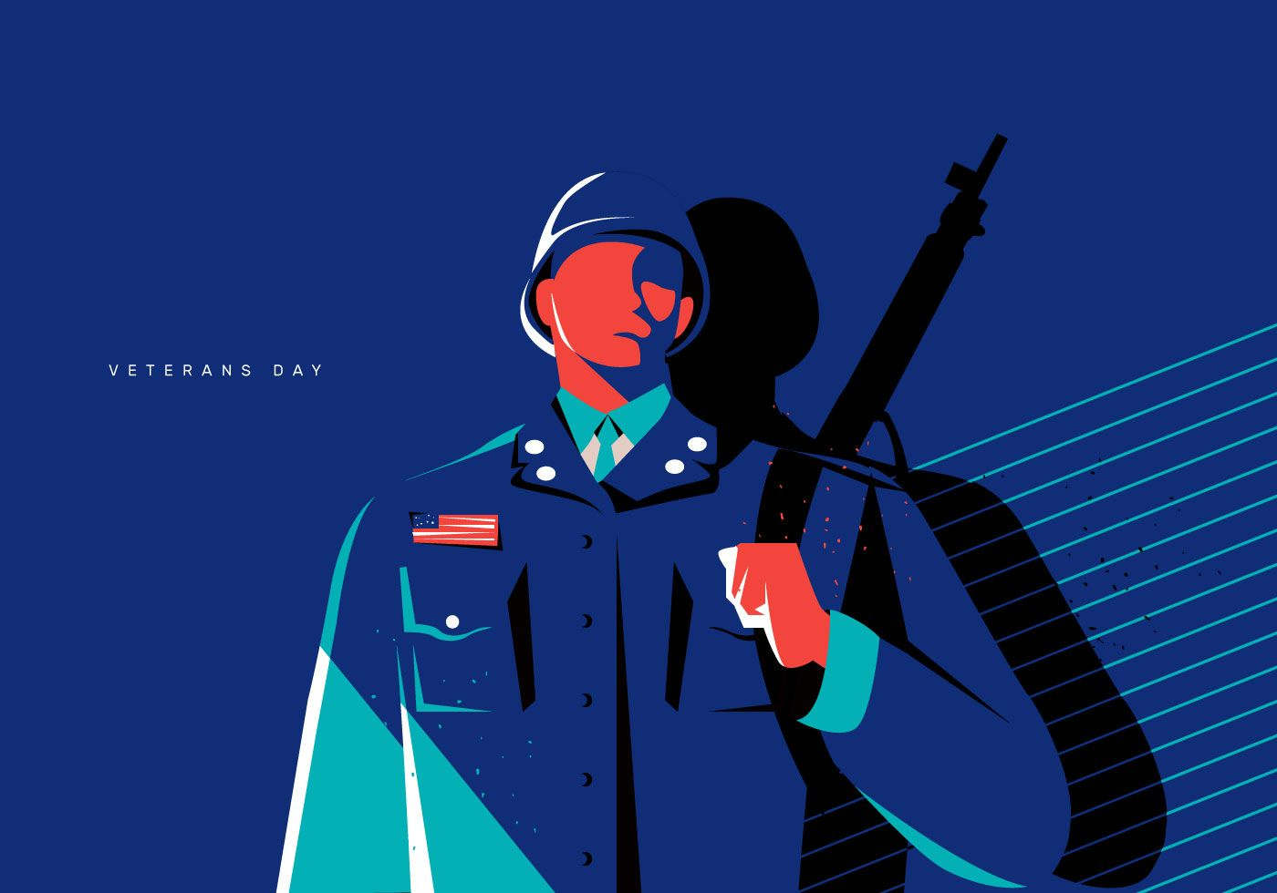 Veteran S Day Concept Soldier Illustration Flat Vector Background Soldier Drawing Soldier Graphic Illustration