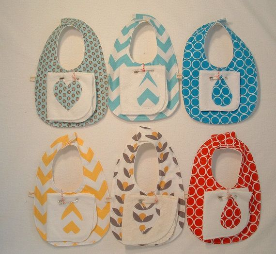 Cute and colorful bib and wash cloth sets are great as gifts, for baby showers or to stock up for teething time.    THIS LISTING IS FOR ONE BIB