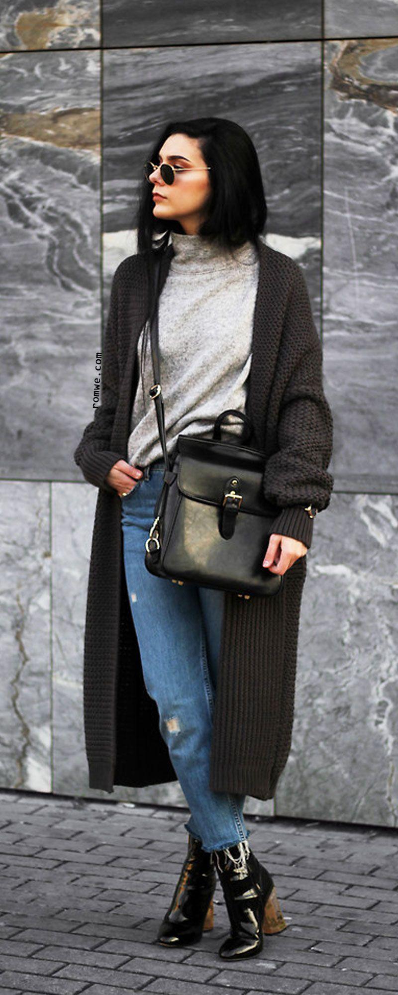 Black Ribbed Trim Drop Shoulder Long Sweater Coat | Romwe Women ...