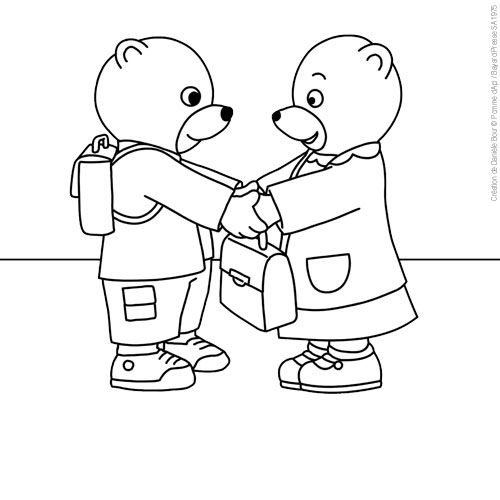 Coloriage Petit Ours Brun Copine Ecole Pob Baby Cartoon French