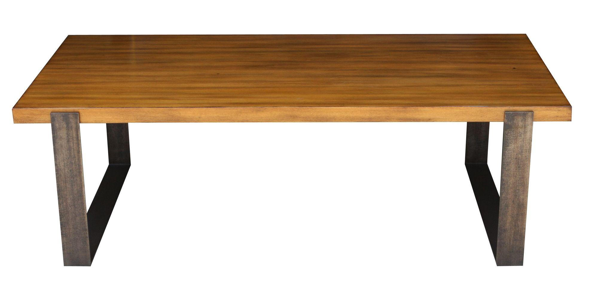 Modern Metal and Wood Coffee Table