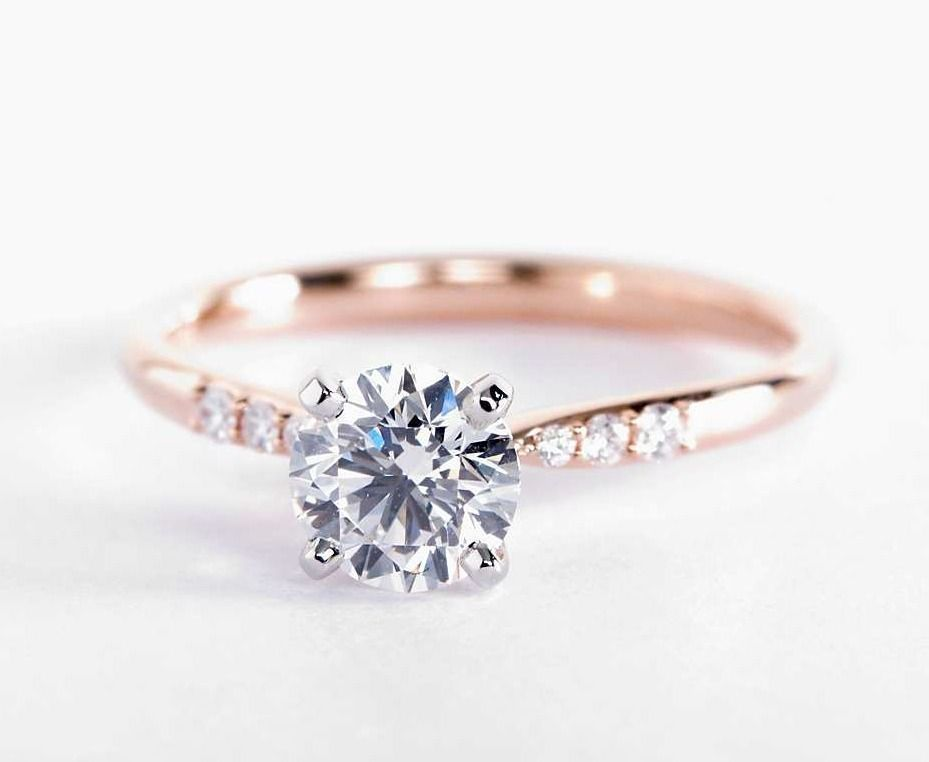 Petite Diamond Engagement Ring In 14k Rose Gold 1 10 Ct Tw In 2020 Rose Gold Engagement Ring Vintage Engagement Rings Wedding Rings Vintage