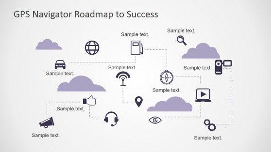 Gps Navigator Roadmap Powerpoint Template  Powerpoint Icon