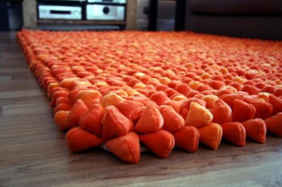 Contemporary Dreamweaver Soft Deep Pile Pebble Rug In Orange