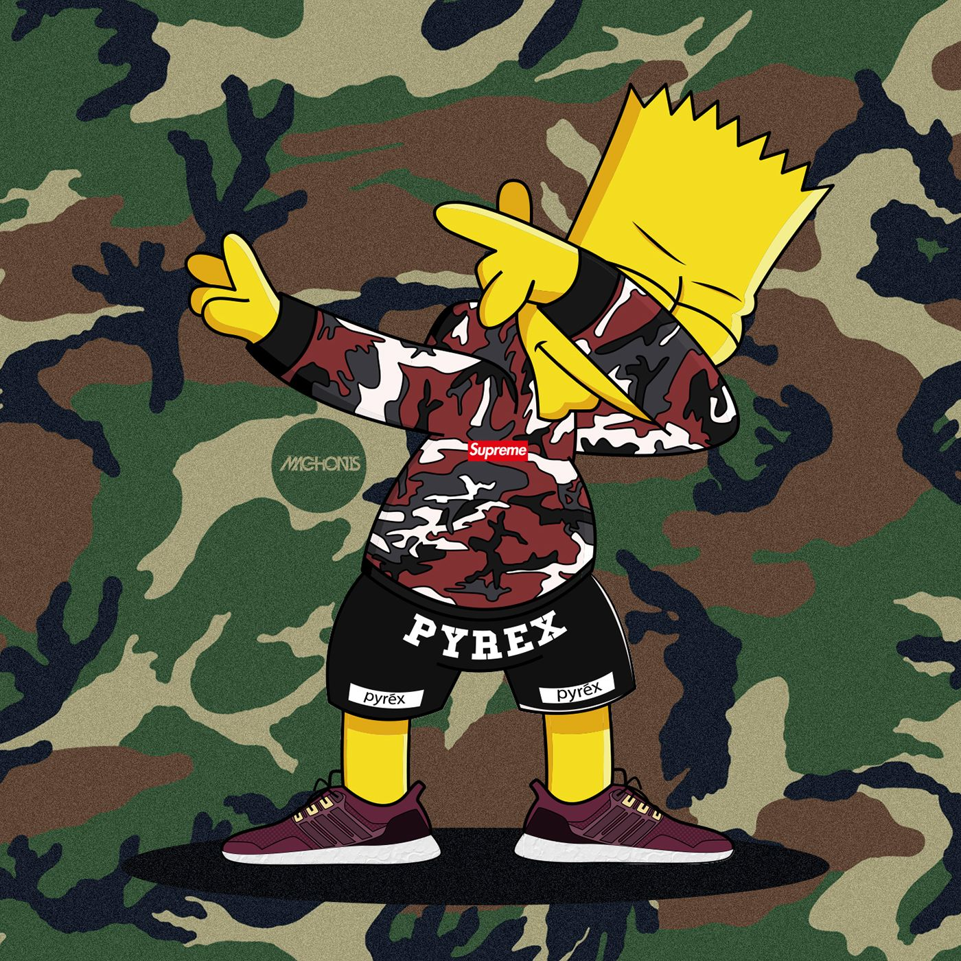 Dabbin' Bart Simpson Supreme Adidas Ultra Boost on Behance ...